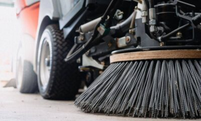 Retail and Shopping Center Parking Lot Sweeping Gutter Broom Photo