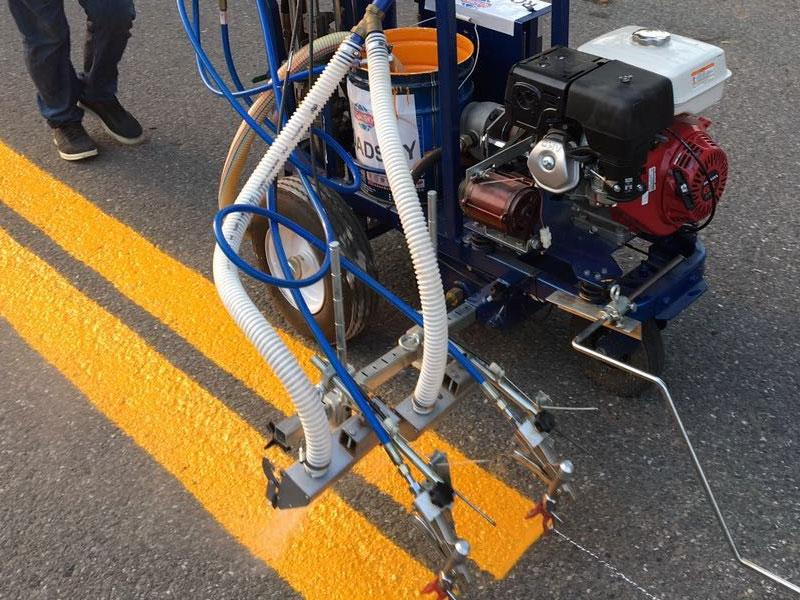 Nashville Parking Lot Striping Machine Process Photo